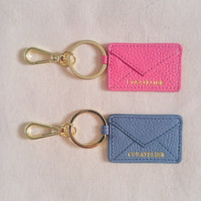 Load image into Gallery viewer, Curatelier Pink Leather Envelope Keychain Bag Charm