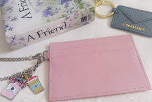 Curatelier Genuine Cow Leather Pink Cardholder On Silver Chain