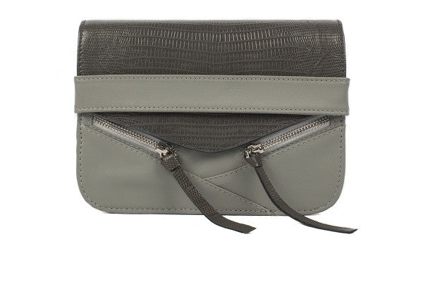 Velvet By Fridays On Curatelier Sophia Genuine Crocodile Embossed Calf Leather Shoulder Bag in Grey (Front View Without Strap)