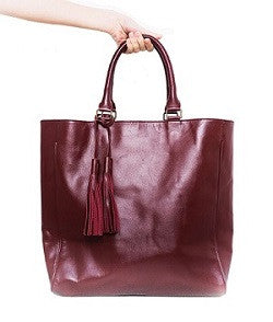 Velle Natasha Everyday Genuine Calf Leather Tote Bag in Oxblood (Front View)