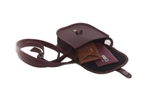 Load image into Gallery viewer, Velle Cresecendo Mini Saddle Crossbody Genuine Cow Leather Bag in Maroon (Interior View)