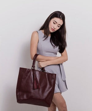 Velle Natasha Everyday Genuine Calf Leather Tote Bag in Oxblood (Model View 1)