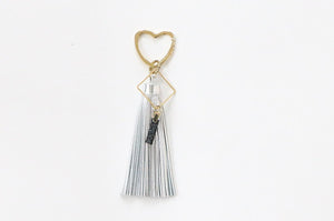 Curatelier Opulence Silver Leather Tassel Gold Heart Keyring
