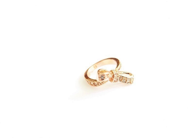 IOTC Premium Tallulah Crystal Bow Ring in Pink Gold (Front View)