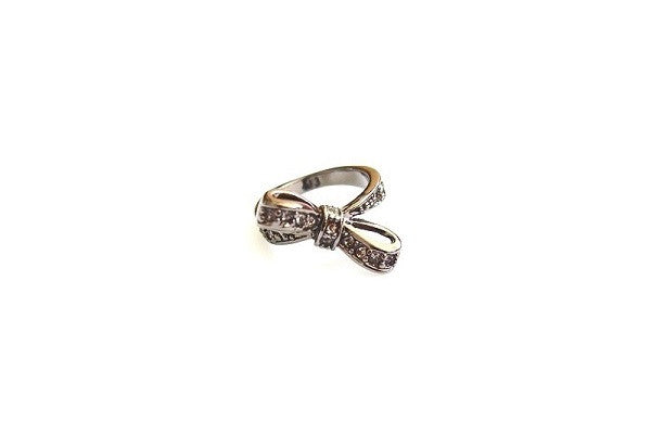 IOTC Premium Tallulah Pave Cubic Zirconia Crystal Bow Ring in Black (Front View)