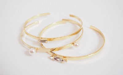 IOTC Mixed Pearl Gem Metal Bangle Pack in Gold (Front View)