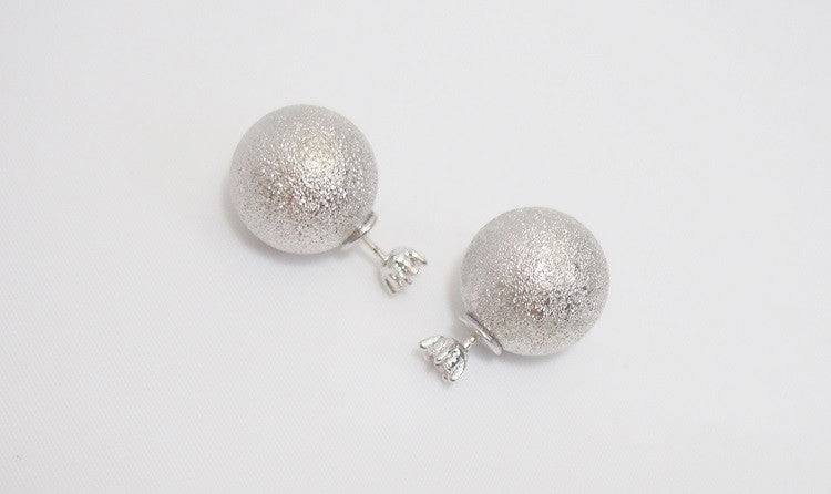 IOTC Double-Sided Crystall Ball Earrings in Silver (Front View)