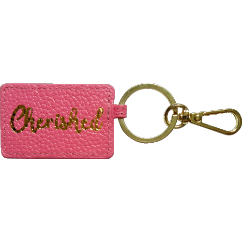Curatelier Personalised Pink Leather Envelope Keychain Bag Charm (Cherished)
