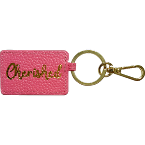 "Curatelier ""CHERISHED & BLESSED"" Personalised Leather Envelope Keyrings Bundle Gift Set"