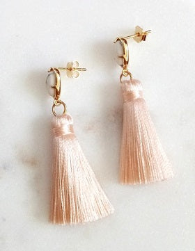 Curatelier Hope White Howlite Gemstone Pink Silk Thread Petite Tassel Earrings