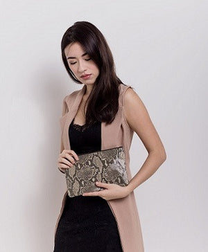 Aehee New York Gold-Studded Wristlet in Python Embossed Leather (Model View 2)