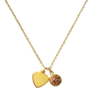 Curatelier Personalised Rose Gold Druzy Crystal Pendant Gold Heart Charm (Gold Necklace) 2