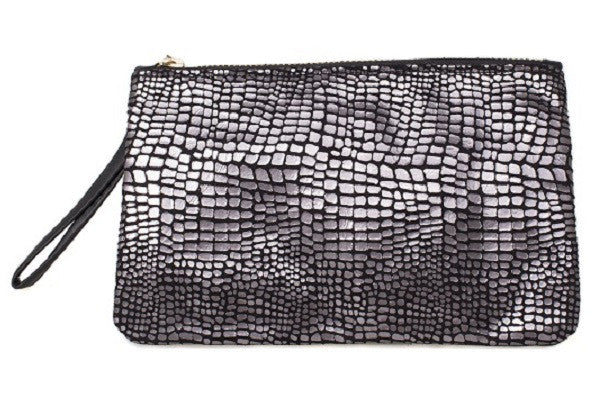Aehee New York on Curatelier Duo-Tone Wristlet in Alligator Embossed Leather/Black Leather (Front View)