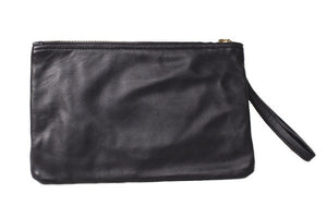 Aehee New York on Curatelier Duo-Tone Wristlet in Alligator Embossed Leather/Black Leather (Back View)