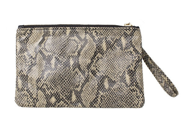 Aehee New York Gold-Studded Wristlet in Python Embossed Leather (Front View)