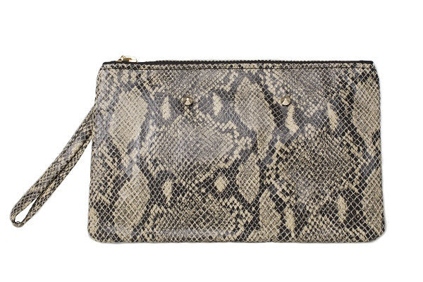 11c2f8b284a2 Aehee New York Gold-Studded Wristlet in Python Embossed Leather (Front View)