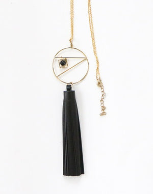 Curatelier Serendipity Black Leather Tassel Marble Howlite Pendant Long Gold Chain Necklace