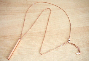 IOTC Premium Sierra Modern Long Bar Pendant Necklace in Pink Gold