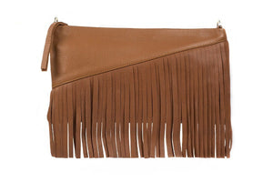 Velvet By Fridays On Curatelier Danielle Tassel Fringe Calf Leather Shoulder Bag in Tan (Front View Without Strap)