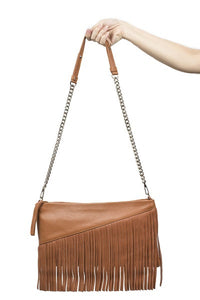 Velvet By Fridays On Curatelier Danielle Tassel Fringe Calf Leather Shoulder Bag in Tan (Front View With Strap)
