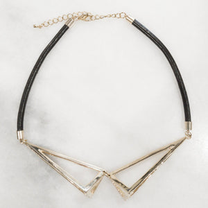 IOTC Aries Chunky Triangle Cut-Out Leather Collar Necklace (More Colours Available)