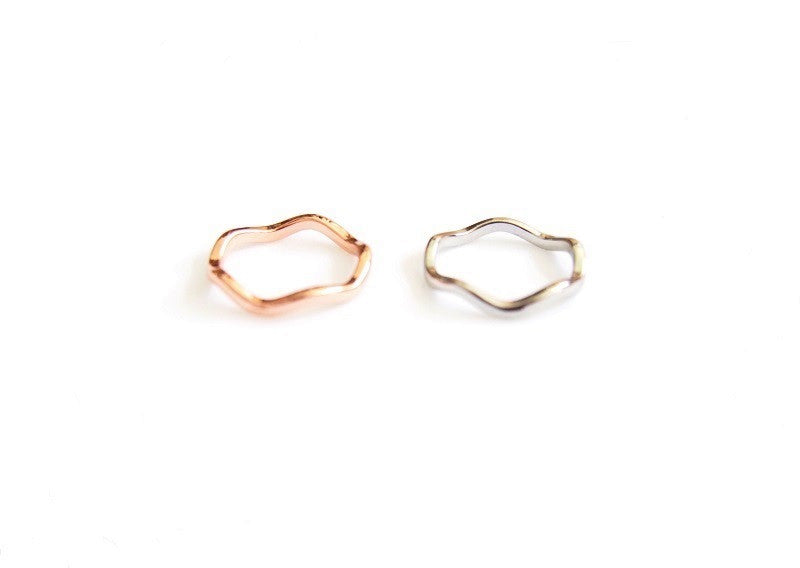 IOTC Valentina Wave Detailing Delicate Slender Rose Gold Ring (Premium) (Front View)