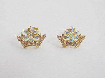 IOTC Princess Crown Crystal Earrings in Gold (Front View)