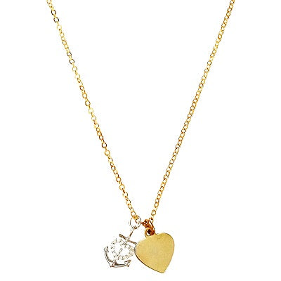 Curatelier Personalised Crystal Silver Heart Anchor Pendant Gold Heart Charm (Gold Necklace) 1