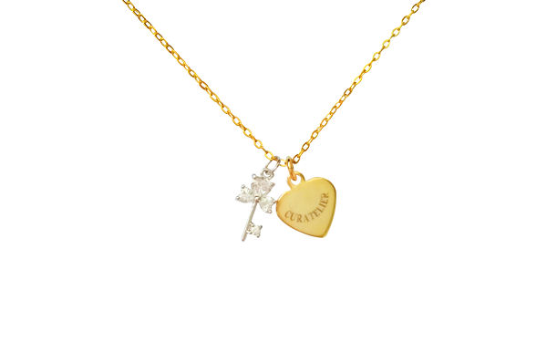 Curatelier Personalised Cubic Crystal Silver Key Pendant Gold Heart Charm With Gold Necklace - View 1