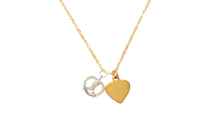 Curatelier Personalised Cubic Crystal Silver Heart Pretzel Pendant Gold Heart Charm With Gold Necklace - View 2