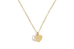 Curatelier Personalised Cubic Crystal Silver Heart Pretzel Pendant Gold Heart Charm With Gold Necklace - View 1