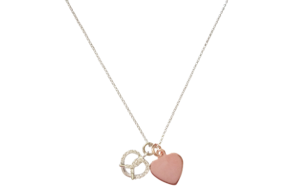 Curatelier Personalised Cubic Crystal Silver Heart Pretzel Pendant Rose Gold Heart Charm With Silver Rhodium Necklace - View 1