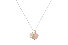 Load image into Gallery viewer, Curatelier Personalised Cubic Crystal Silver Heart Pretzel Pendant Rose Gold Heart Charm With Silver Rhodium Necklace - View 1