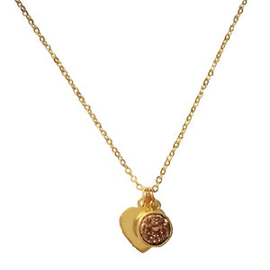 Curatelier Personalised Rose Gold Druzy Crystal Pendant Gold Heart Charm (Gold Necklace) 1