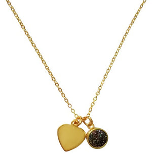 Curatelier Personalised Rainbow Druzy Crystal Pendant Gold Heart Charm (Gold Necklace) 2
