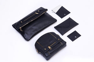 Velvet By Fridays Hayley Foldover Genuine Calf Leather Foldover Clutch in Black