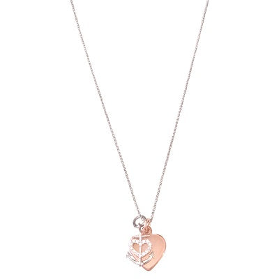 Curatelier Personalised Crystal Silver Heart Anchor Pendant Rose Gold Heart Charm (Silver Necklace) 1
