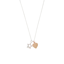 Load image into Gallery viewer, Curatelier Personalised Crystal Silver Star Pendant Rose Gold Heart Charm (Silver Necklace) 2