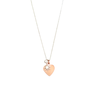 Curatelier Personalised Crystal Silver Snowflake Pendant Rose Gold Heart Charm (Silver Necklace) 1