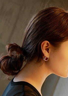 IOTC Sparkling Square Crystal Earrings (Model View)