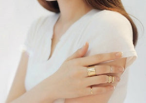 IOTC Trilogy Contemporary Gold Stacking Ring Set (Model View)