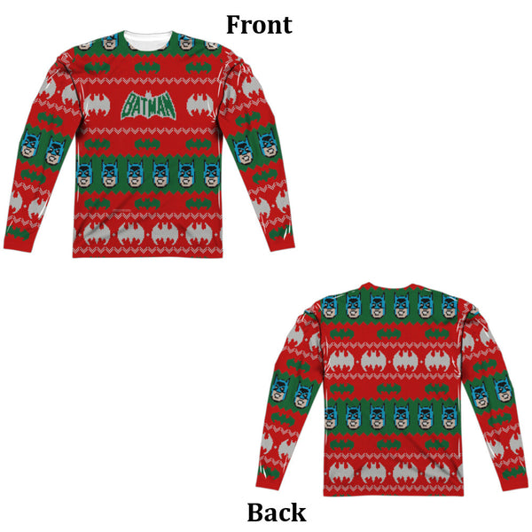 Batman Bat Ugly Christmas Sweater Long Sleeve Tee - Front and Back Print