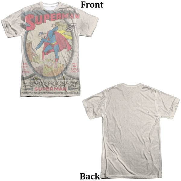 Superman #1 Distress Adult Tee - Front And Back Print