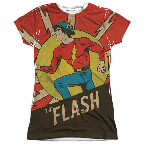 Flash Vintage Comic Flash Juniors Tee - Front Print Only
