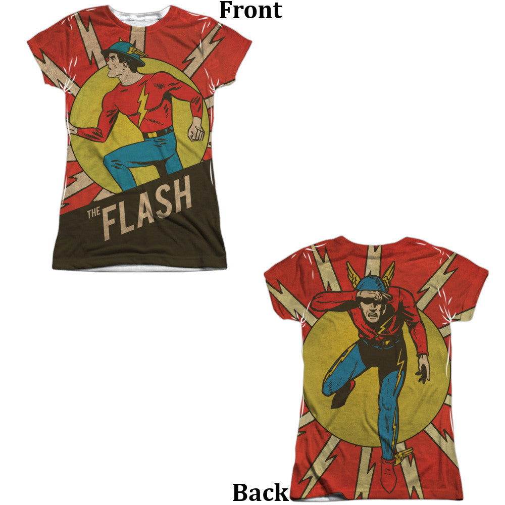 Flash Vintage Comic Flash Juniors Tee - Front And Back Print