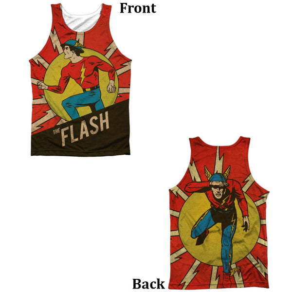 Flash Vintage Comic Flash Adult Tank Top - Front And Back Print