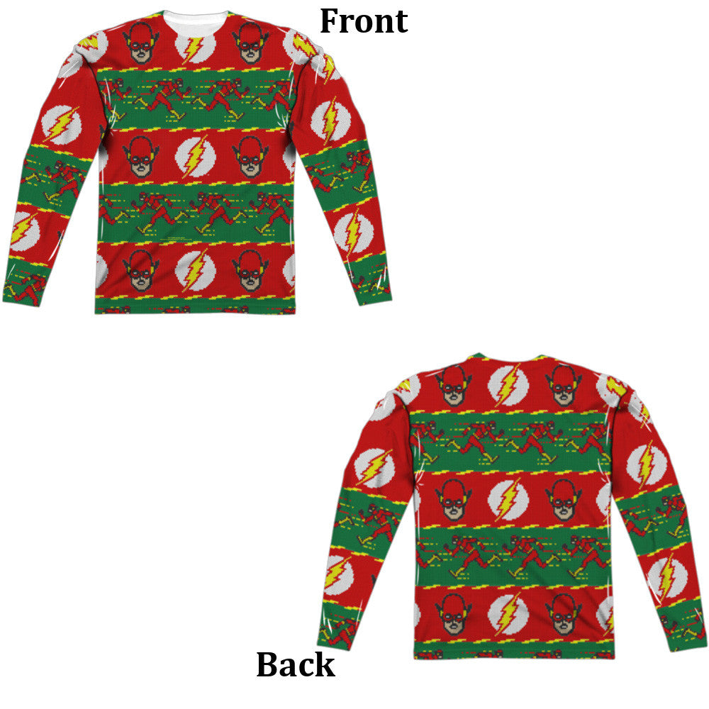 Flash Ugly Christmas Sweater Long Sleeve Tee - Front and Back Print