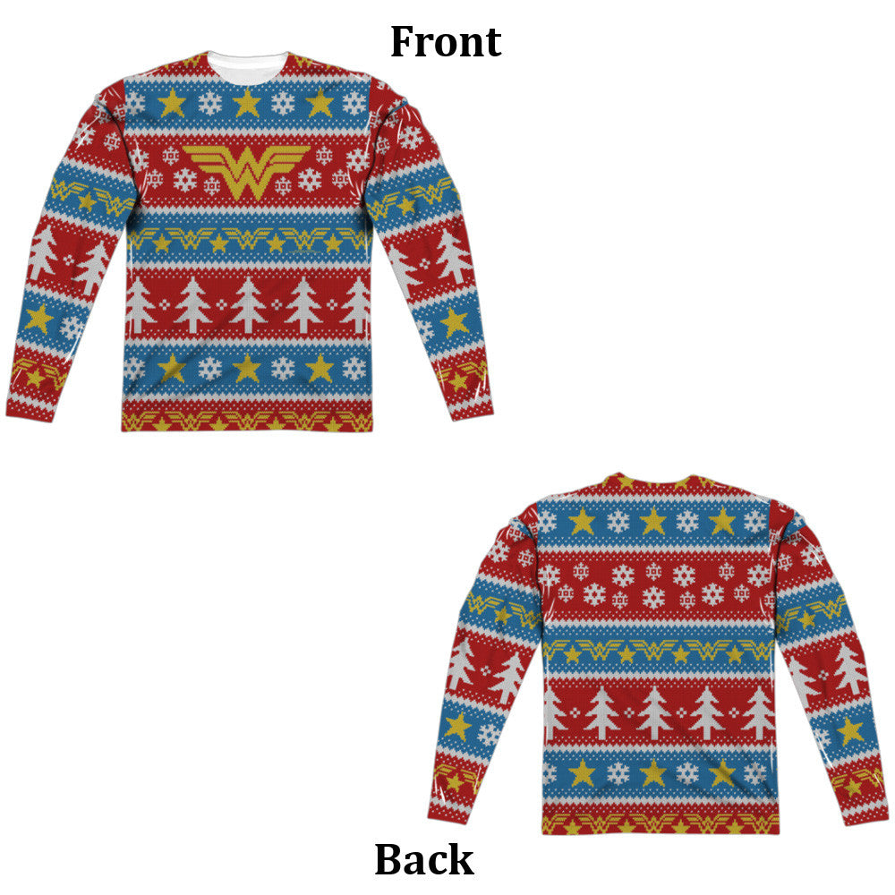 wonder woman holiday ugly christmas sweater long sleeve tee front and back print