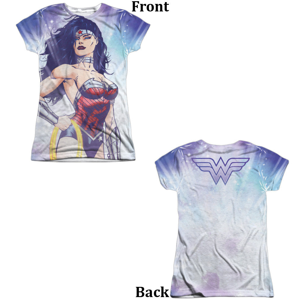 Wonder Woman Warrior Goddess Juniors Tee - Front And Back Print