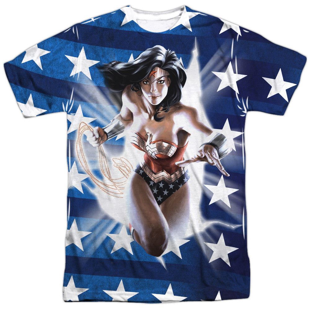 Wonder Woman Ripped Flag Adult Tee - Front Print Only